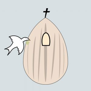 A white dove entering a window in an almond that has a cross on its tip