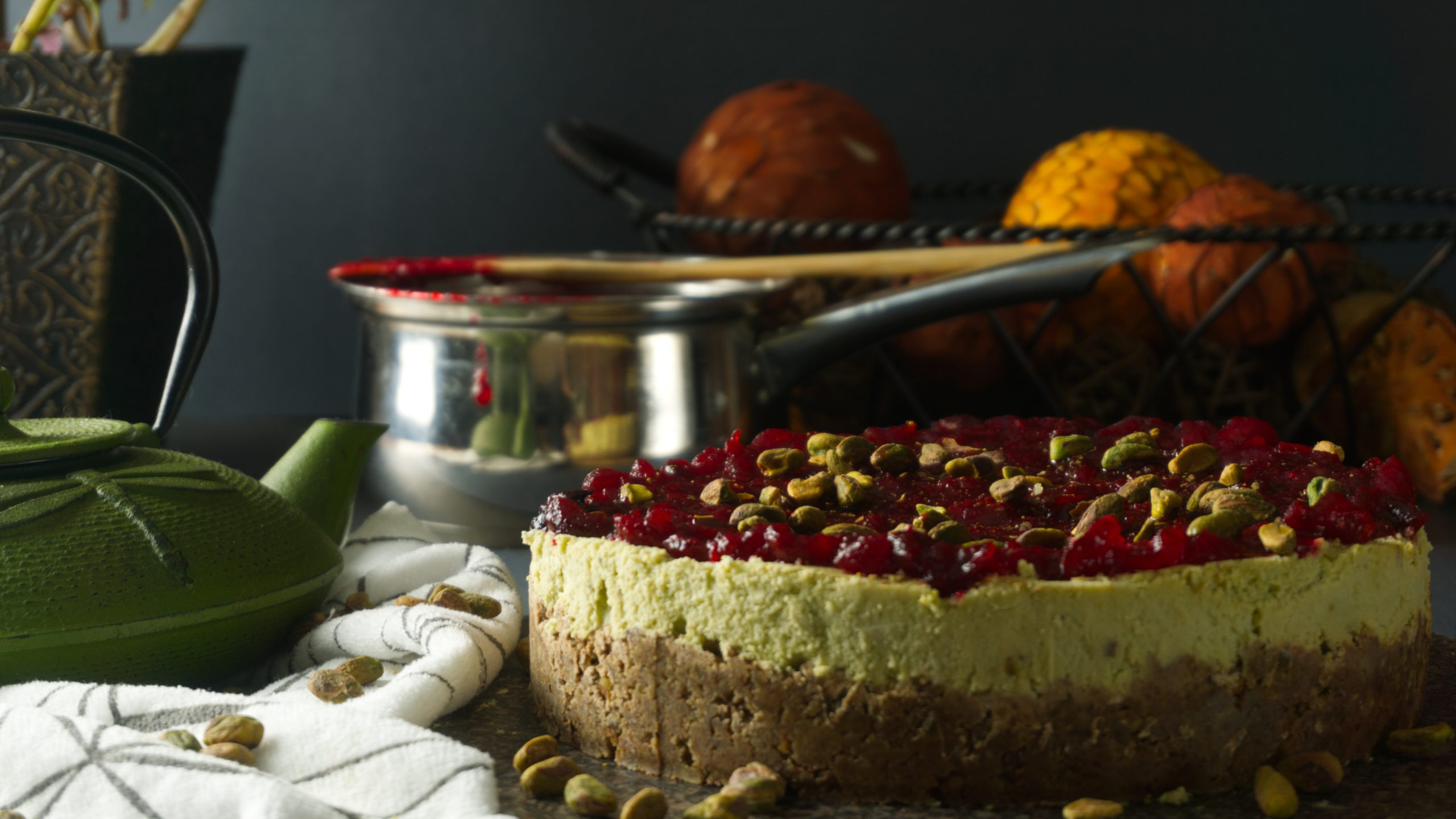 Loads of Pistachio Cheesecake with Cranberry Sauce