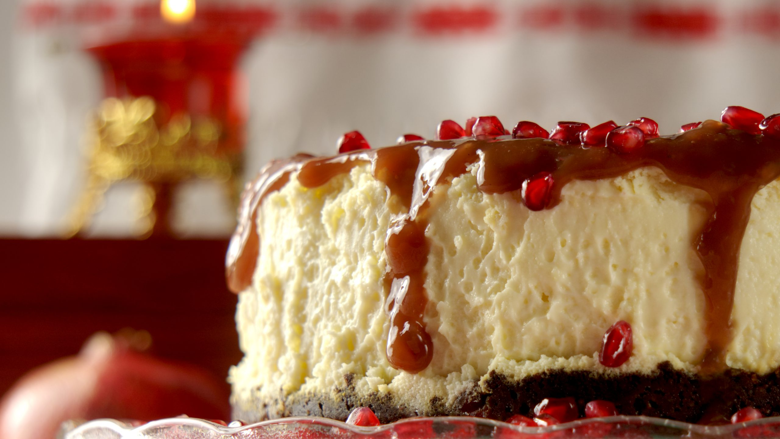 Nutty Cheesecake with Pomegranate Sauce