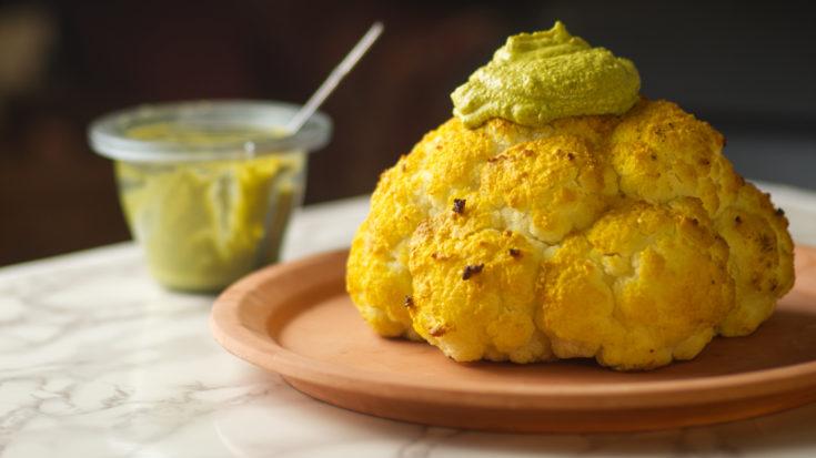 Baked Cauliflower with Lemon Tahini Sauce